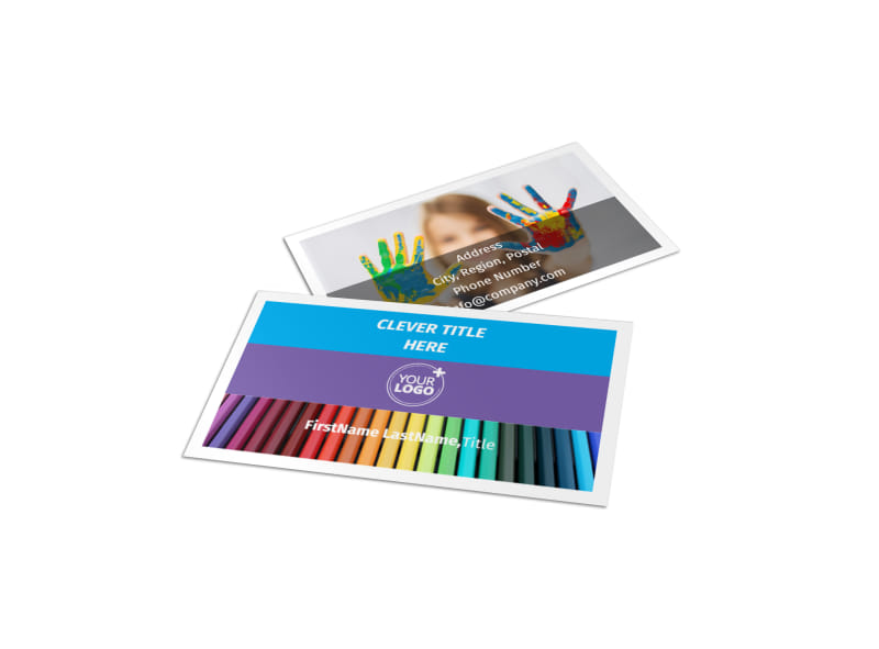 First-School Preschool Activities Business Card Template