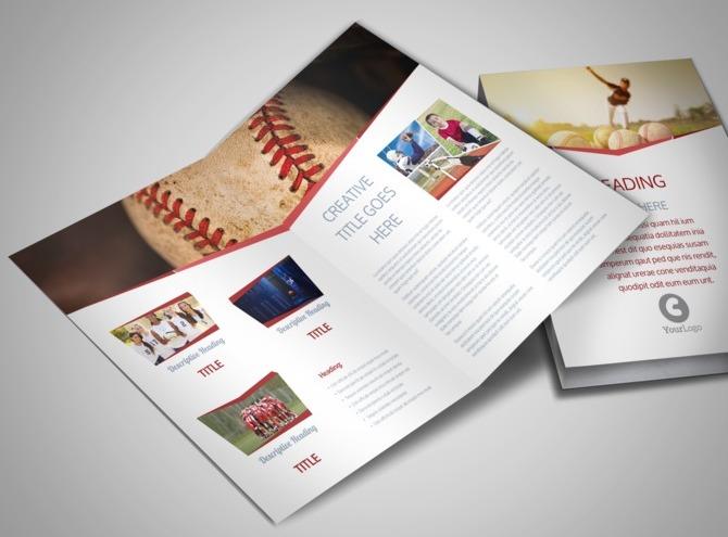 Sports photography bi fold brochure template for Sports brochure templates