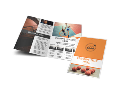 Basketball Camp Bi-Fold Brochure Template preview