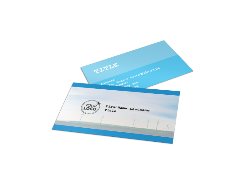 Wind Farm Business Card Template Preview 1