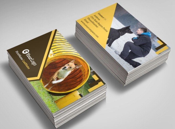 Dog training business card template for Dog trainer business card