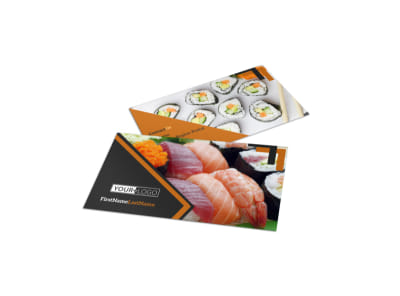 Outstanding Sushi Restaurant Business Card Template preview