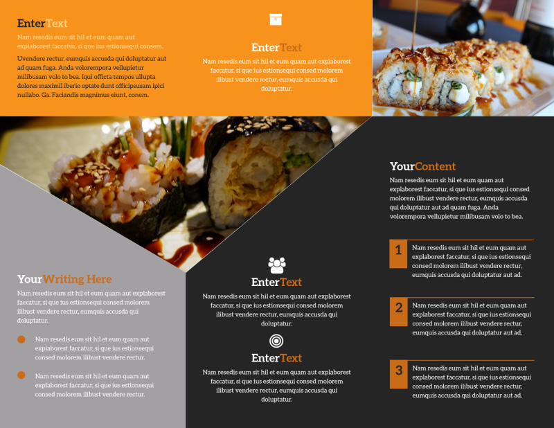 Outstanding Sushi Restaurant Brochure Template Preview 3