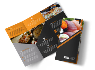 Outstanding Sushi Restaurant Tri-Fold Brochure Template