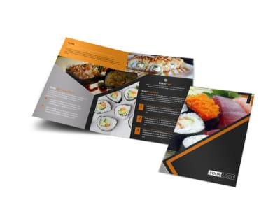 Outstanding Sushi Restaurant Bi-Fold Brochure Template