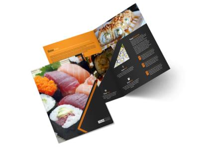 Outstanding Sushi Restaurant Bi-Fold Brochure Template 2