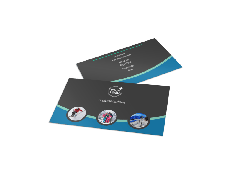 Ski Resort Business Card Template Preview 1