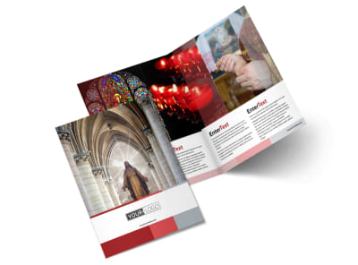 Catholic Church Bi-Fold Brochure Template 2
