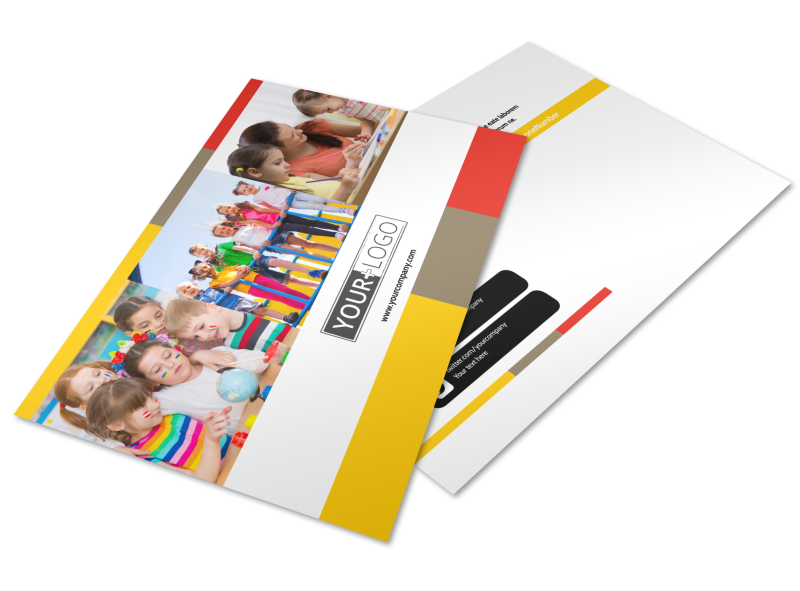 Preschool & Day Care Services Postcard Template Preview 1
