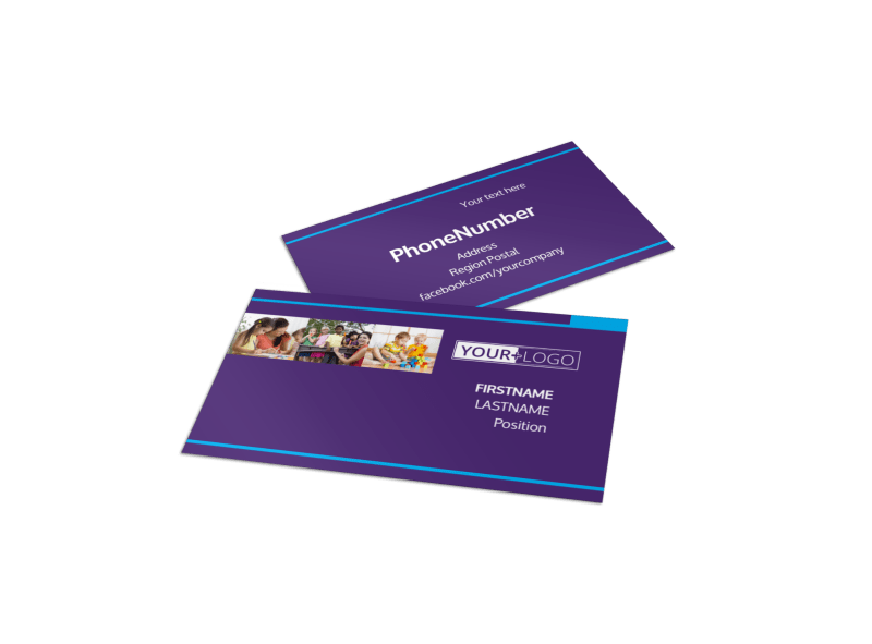 Babysitting & Infant Care Business Card Template Preview 1