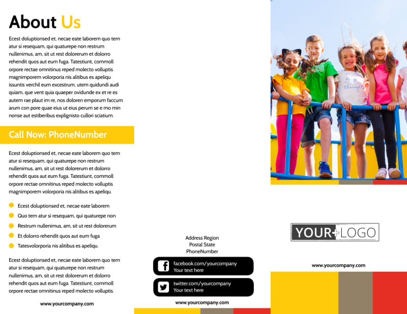 Preschool & Day Care Services Brochure Template Preview 2