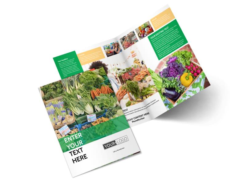 Local Produce Market Bi-Fold Brochure Template 2