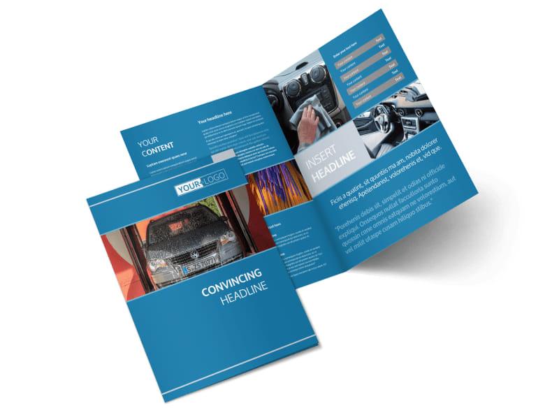 Bubbly Car Wash Bi-Fold Brochure Template 2