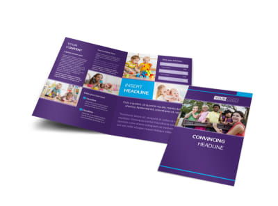 Infant Care & Babysitting Bi-Fold Brochure Template preview