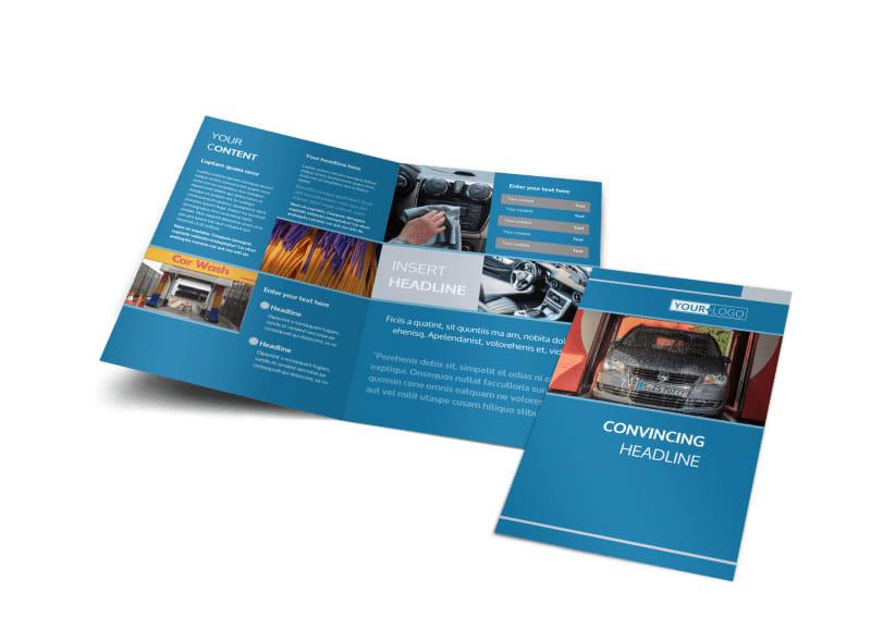 Bubbly Car Wash Bi-Fold Brochure Template