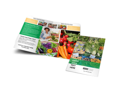 Local Produce Market Bi-Fold Brochure Template preview