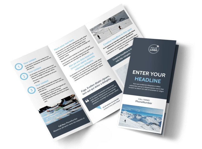 Ski & Snowboard Instructor Tri Fold Brochure Template