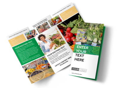 Local Produce Market Tri-Fold Brochure Template preview