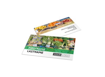 Local Produce Market Business Card Template preview