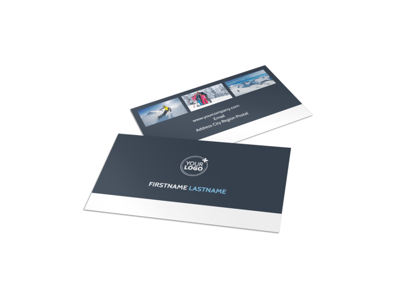 Ski Instructor Business Card Template Preview 1