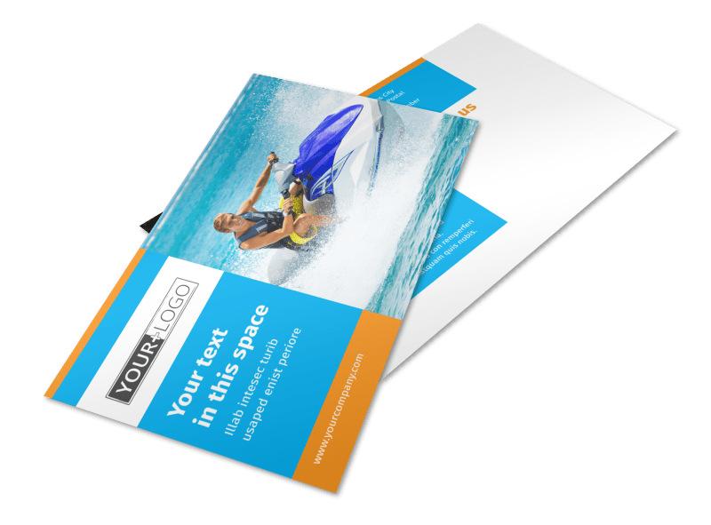 Water Sport Rentals Postcard Template 2