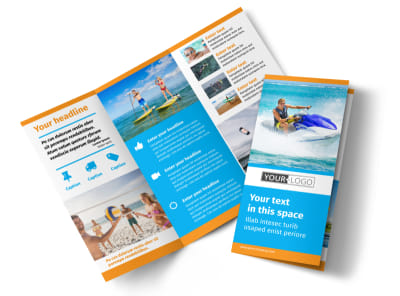 Water Sport Rentals Tri-Fold Brochure Template