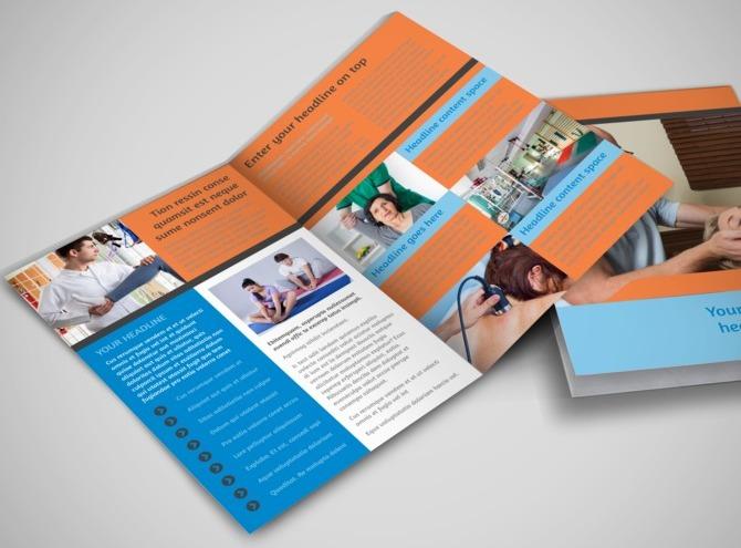 Massage chiropractic office bi fold brochure template for Chiropractic brochures template