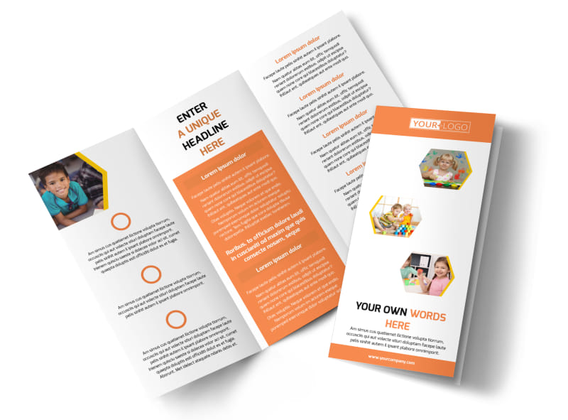 Creative Child Development Brochure Template MyCreativeShop - Tri fold school brochure template
