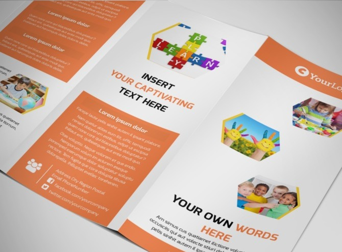 Child children development school tri fold brochure for Tri fold school brochure template