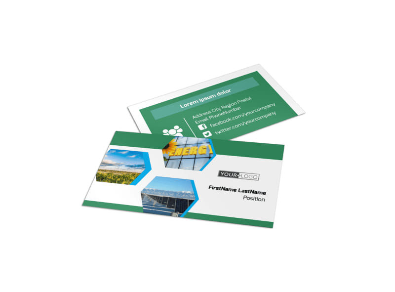Green Energy Technology Business Card Template