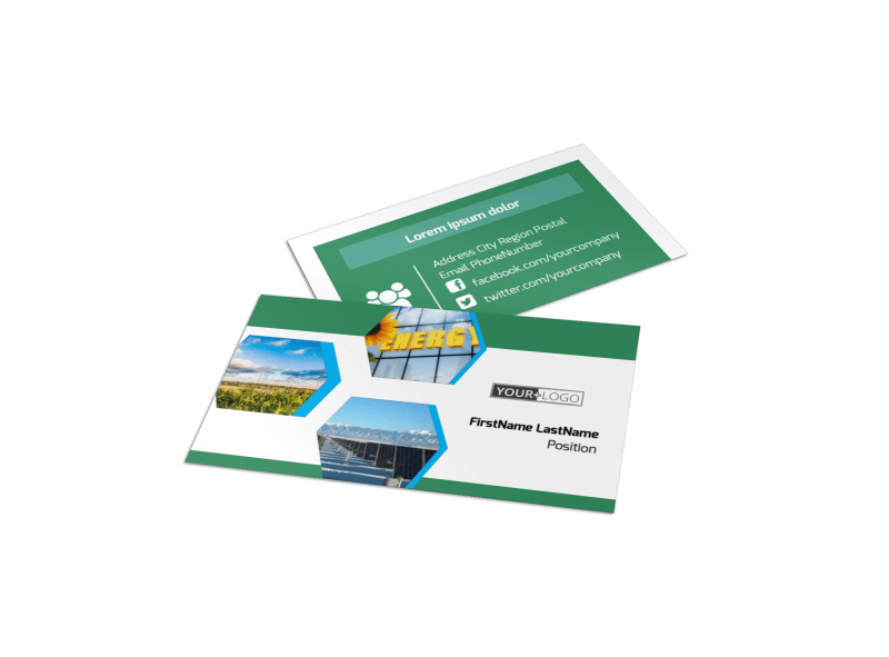 Green Energy Technology Business Card Template Preview 1