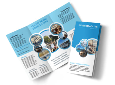 Yacht Tour Tri-Fold Brochure Template preview