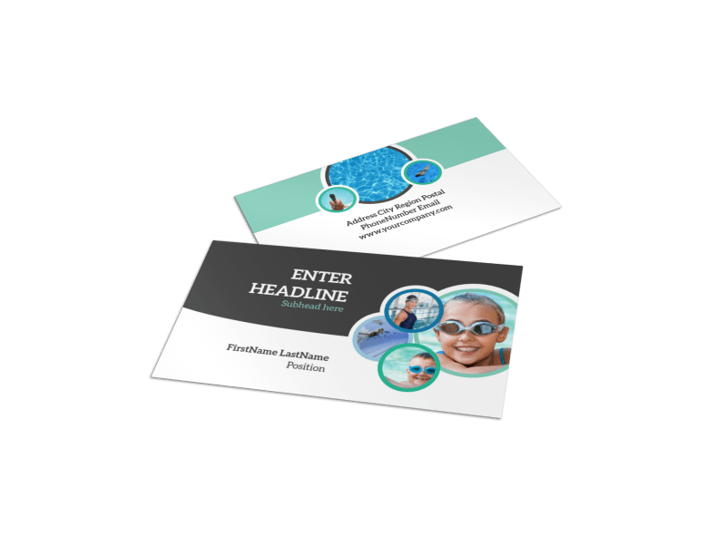 Swimming Tournament Business Card Template Preview 1