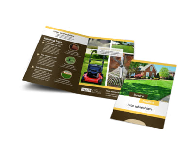 Lawn Maintenance Service Bi-Fold Brochure Template preview