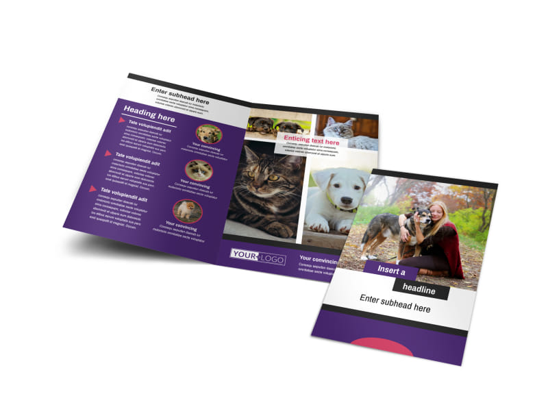 Pet Adoption Bi-Fold Brochure Template