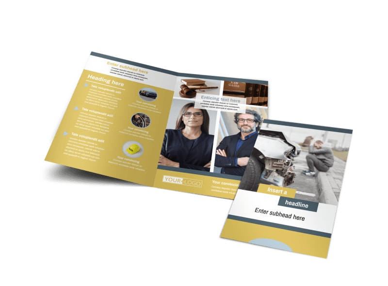 Accident Compensation Lawyer Bi-Fold Brochure Template