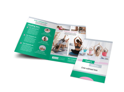 Hot Yoga Class Bi-Fold Brochure Template preview