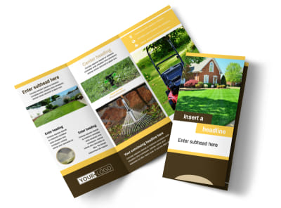 Lawn Maintenance Service Tri Fold Brochure Template preview