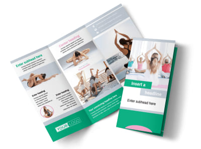 Hot Yoga Class Tri-Fold Brochure Template preview