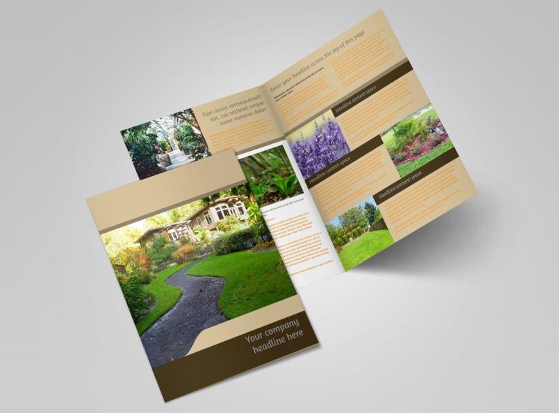 Landscape Design Bi-Fold Brochure Template 2