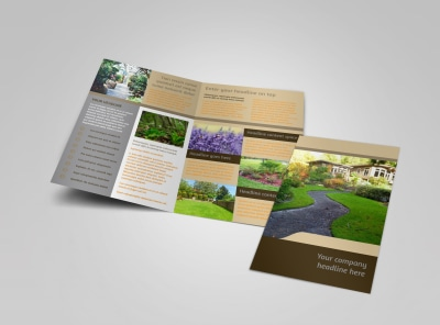 Landscape Design Bi-Fold Brochure Template preview