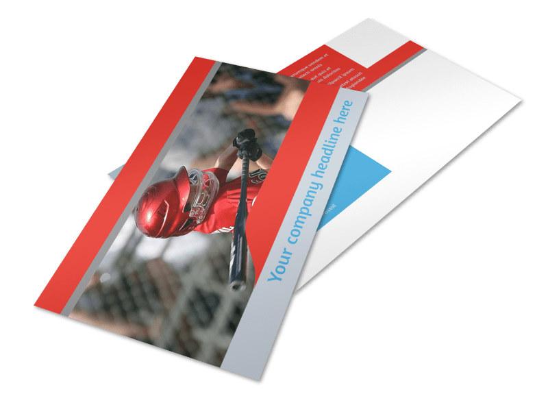 Top Swing Baseball Camp Postcard Template 2