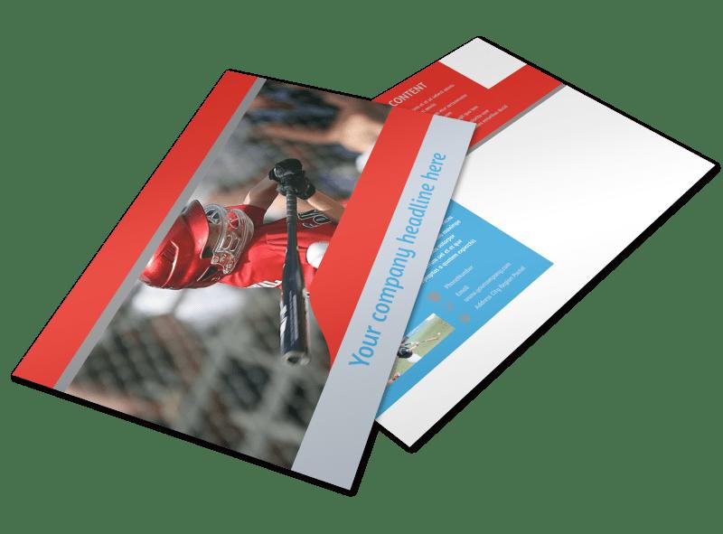 Top Swing Baseball Camp Postcard Template Preview 1