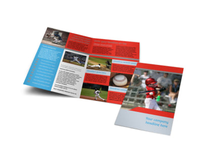 Top Swing Baseball Camp Bi-Fold Brochure Template preview