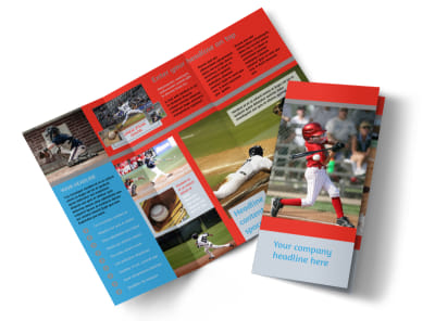 Top Swing Baseball Camp Tri-Fold Brochure Template preview