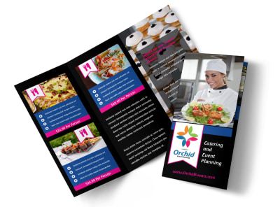 Corporate Event Planner & Caterer Tri Fold Brochure Template preview