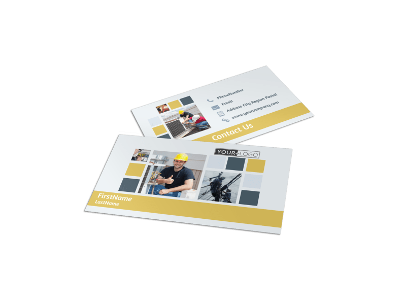 Electrical Service Business Card Template Preview 1