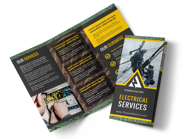 Electrical Service Tri-Fold Brochure Template