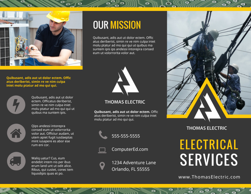Electrical Service Brochure Template Preview 2
