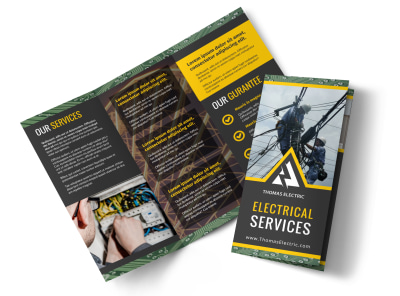 Electrical Service Tri-Fold Brochure Template preview